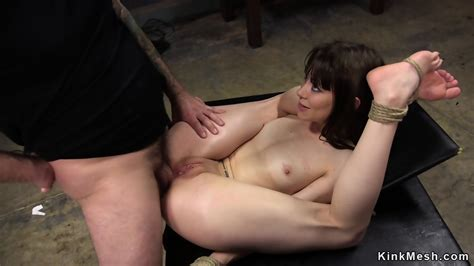 Tied Up Brunette Anal Fucked And Cummed