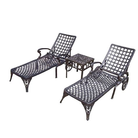 chaises aluminium oakland living elite cast aluminum 3 patio chaise