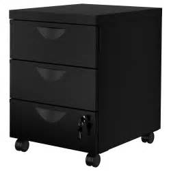 erik drawer unit w 3 drawers on castors black 41x57 cm ikea