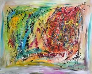 Tableau Contemporain Grand Format : peinture abstraite moderne multicolore peinture color e ~ Teatrodelosmanantiales.com Idées de Décoration