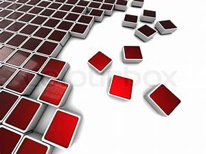 Abstract 3d illustration of background with red blocks ...