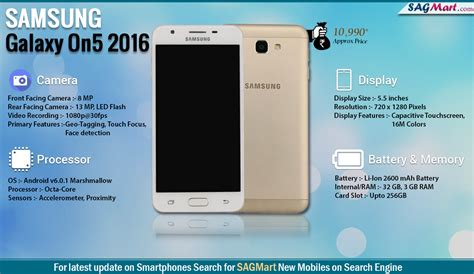 samsung galaxy on5 2016 price india specs and reviews sagmart
