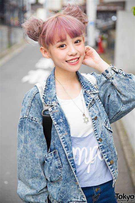 taiwanese model kimi  harajuku  lilac hair denim jacket platforms