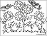 Flower Garden Pages Coloring Print sketch template
