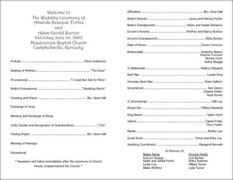 exles of wedding programs templates wedding programs exles on wedding programs sle front wedding program sle ceremony