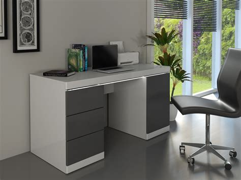 loic bureau bureau loic leds 1 porte 3 tiroirs blanc gris