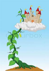 Vector Illustration Of Cartoon Bean Sprout With Castle In
