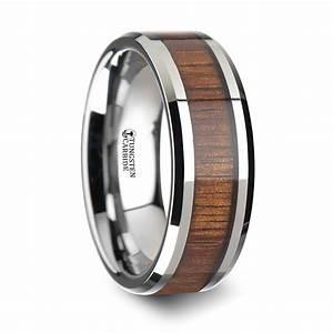 Kona koa wood inlaid tungsten carbide ring with bevels 6 for Kona wedding rings