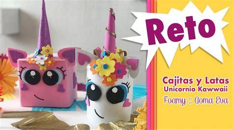 reto unicornio kawaii en cajitas  latas chuladas creativas youtube
