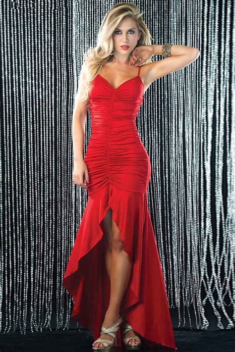 red strappy ruched asymmetrical hem sexy dress   party dresseswomen party dressesclub