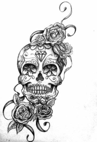 Roses Skull Tattoo Sugar Tattoos Grey Three