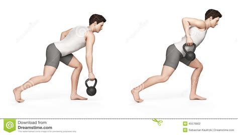 kettlebell exercise arm row illustration kettle health dreamstime