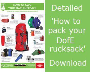 rucksacks  waterproof packing  duke  edinburghs