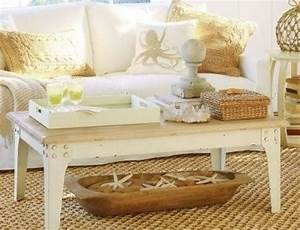 beach themed coffee table decor for living room With beach inspired coffee table