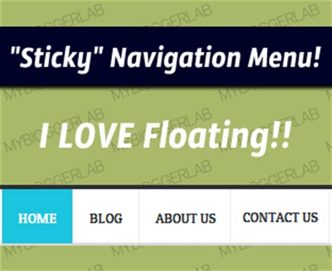 centered navigation bar template how to create a quot sticky quot floating navigation menu in