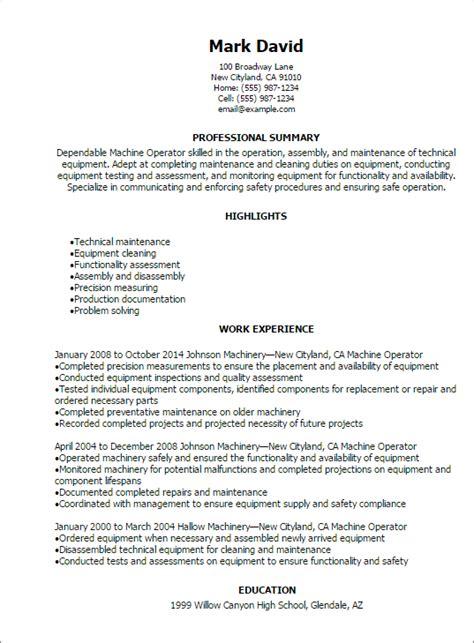 professional machine operator resume templates to showcase