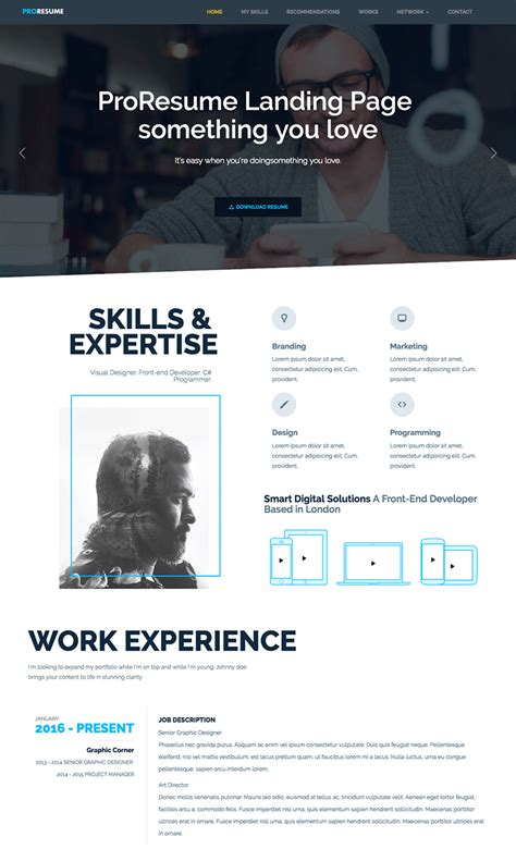 Resume Site Template by 18 Best Html Resume Templates For Awesome Personal