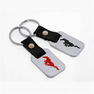 Ford Mustang Key Chain Fob - Chrome - Engraved Logos