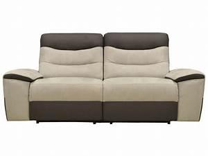 Canapé fixe relaxation électrique 2 5 places en tissu