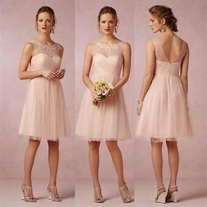 Cute short light pink blush bridesmaid dresses cheap for Cute short dresses to wear to a wedding