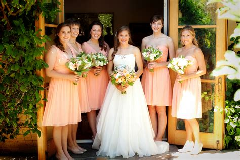 Short Peach Bridesmaids Dresses