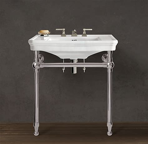 park rounded metal single console sink