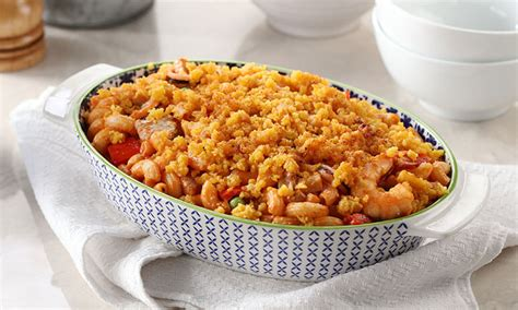 Mix macaroni, mushrooms and rest of ingredients in a 6 cup (1.6 l) buttered casserole. Seafood Casserole Recipe
