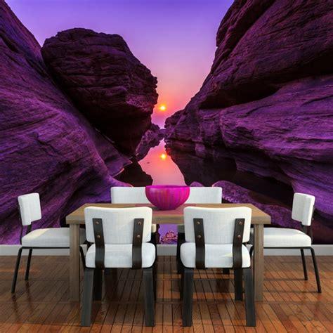 purple canyon wall mural mountain sunset wallpaper bedroom