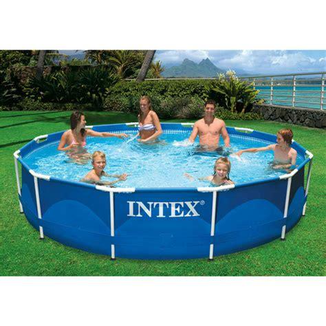swimming pool 12 x 30 quot metal frame intex large family pool set w filter ebay