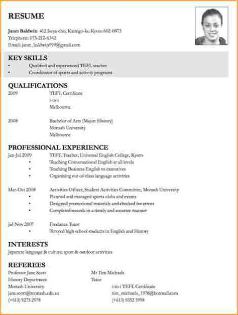 Curriculum Vitae Templates Teachers by 7 Exles Of Cv For Applications Basic Appication Letter