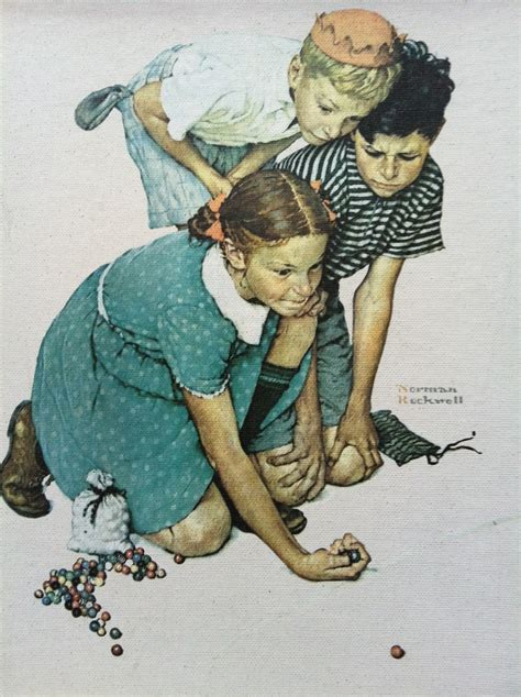Norman Rockwell Fine Art On Canvas Children Marbles