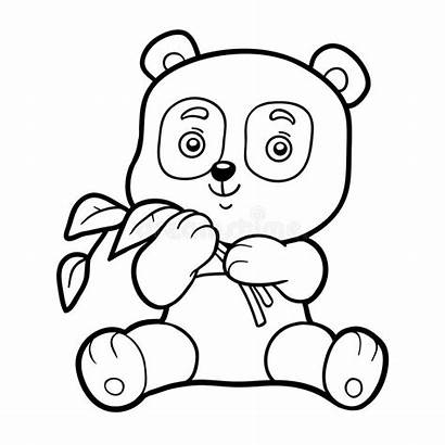Panda Coloring Children Cartoon Pages Vector Chilren