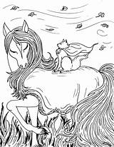 Coloring Fantasy Pages Horse Printable Pretty sketch template