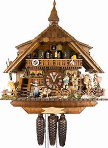 Cuckoo, Clock, 8-day-movement, Chalet-style, 47cm, By, August, Schwer