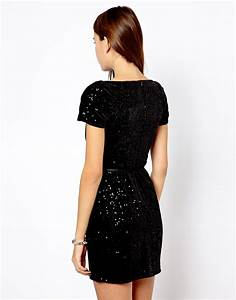 lyst asos mango belted sequin dress in black With robe sequin mango