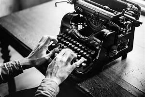 Typing Vintage Typewriter B&W Free Stock Photo - NegativeSpace