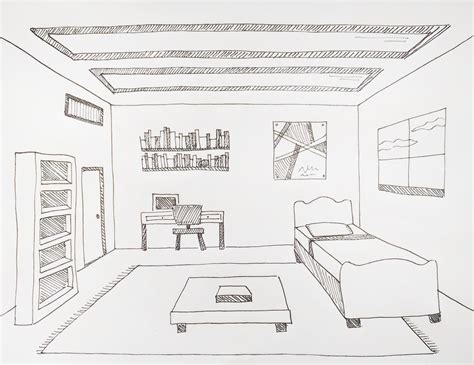 Drawing A Bedroom In One Point Perspective by How To Draw A Coffee Table In One Point Perspective