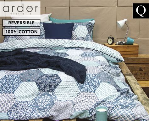 Ardor Madden Reversible Queen Bed Quilt Cover Set Blue