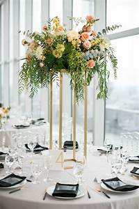 Round, Tables, With, Elegant, Tall, Centerpieces