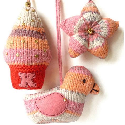 cute  cozy knitted christmas decorations family