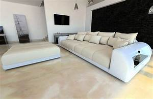 Tiefe Couch : bigsofa materialmix miami xxl mit hocker und led ~ Pilothousefishingboats.com Haus und Dekorationen
