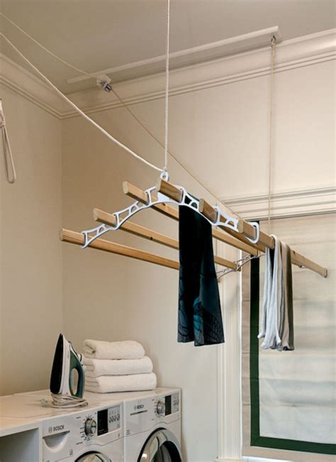 laundry room drying rack transitional laundry room