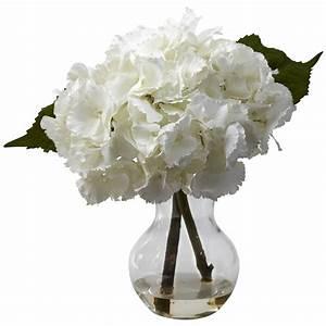 13 inch Silk Blooming Hydrangea Arrangement in Vase | 1314