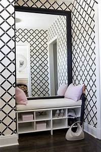 Make an Entrance. Black and white trellis wallpaper with ...