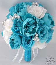 White and Turquoise Wedding Flower Bouquet
