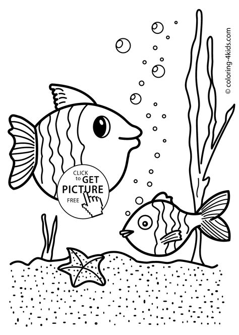 fish nature coloring page  kids printable