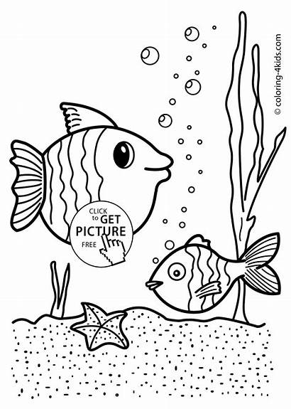Nature Coloring Pages Fish Printable 4kids