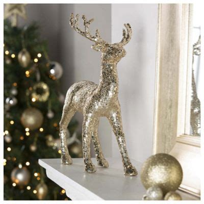 buy tesco gold reindeer christmas decoration