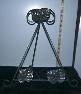 gray metal decorative  easel type platephotoart display stand leaf motif ebay