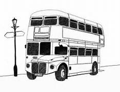 London Bus - Pen drawing by Michael Levi   - Pentel 0 2 - A4      Bus Drawing